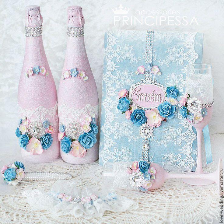 """Купить """"Голубой и розовый"""" свадебный набор - голубой, аксессуары, Аксессуары handmade, аксессуары для фотосессий"""