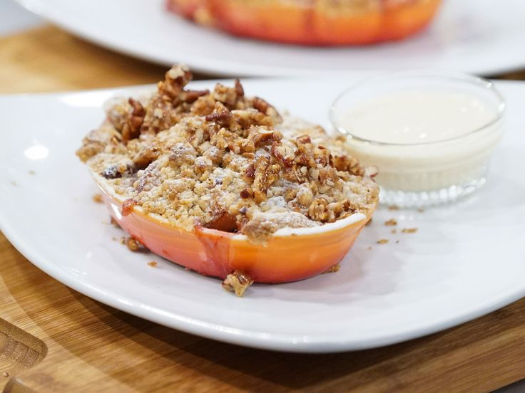 Apple, Pear and Cranberry Crisp with Toffee Pecans and Cinnamon Ice Cream recipe from Holiday Baking Championship via Food Network
