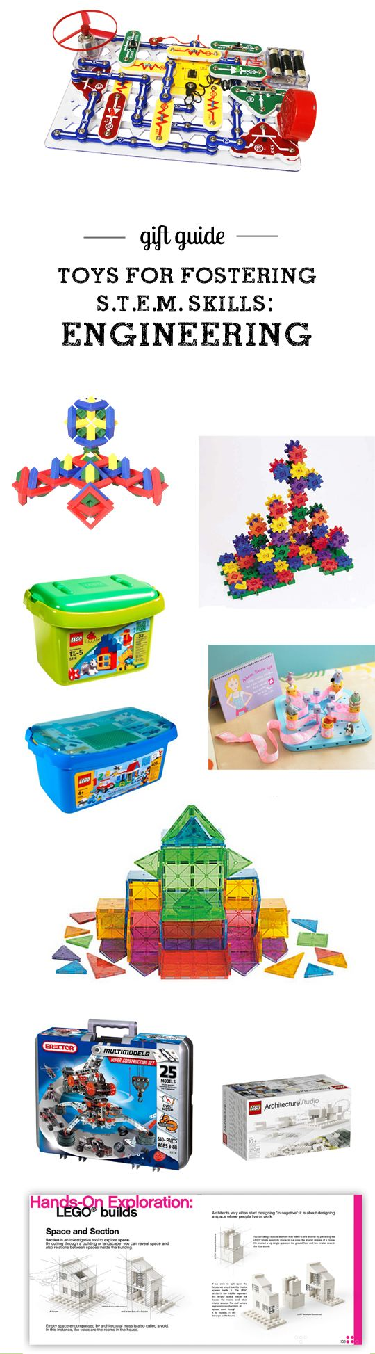 Gift guide: Top S.T.E.M. (Science, Technology, Engineering, & Math) Picks for all ages - so many great toys for working on engineering skills here! Love the detailed descriptions and age recommendations.: