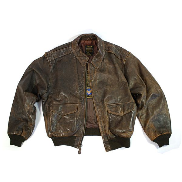 Vintage Avirex A-2 Leather Flight Bomber Jacket Size S SALE (640 BRL) ❤ liked on Polyvore featuring outerwear, jackets, tops, coats, vintage leather jacket, brown bomber jacket, leather jackets, army leather jacket and leather bomber jacket