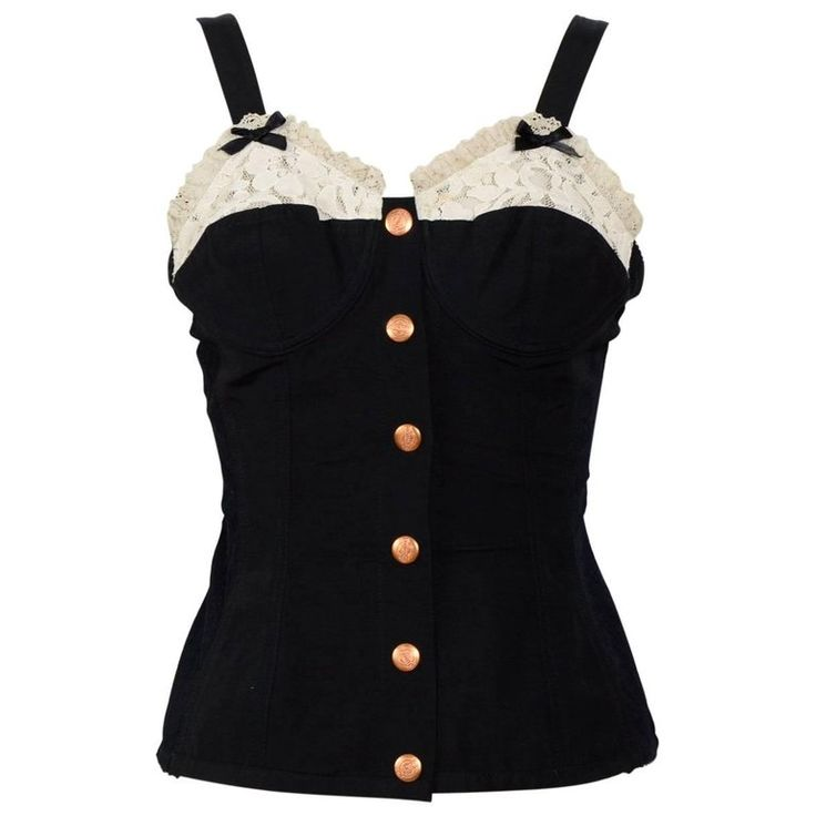 JEAN PAUL GAULTIER Black Corset Top | From a collection of rare vintage lingerie at https://www.1stdibs.com/fashion/clothing/lingerie/
