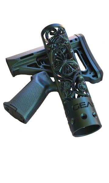 "IN STOCK Ready to Ship Set ~ 9"""" Butterfly Hand Guard, MOE Stock and Grip in Mako Gun Candy Finish"