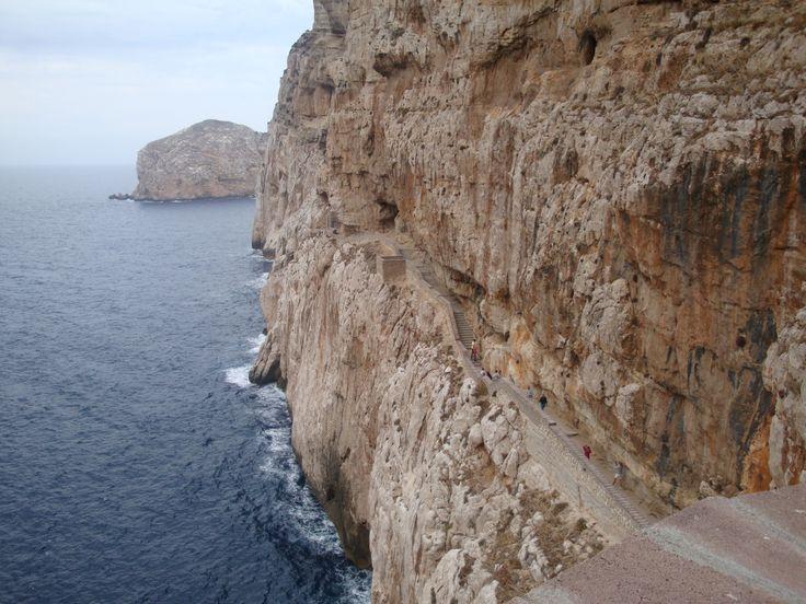 Gradinata che porta alla grotta: 665 gradini. Alghero, Sardegna