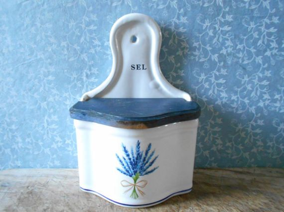 French vintage salt box with lavender decor. Wall by Birdycoconut