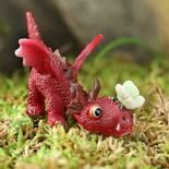 Miniature Red Playful Dragon and Butterfly