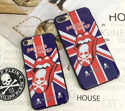 MMJ modische Skelett Britische Flagge mit großer Zunge TPU Handyhülle für Iphone6/6plus/7/7plus
