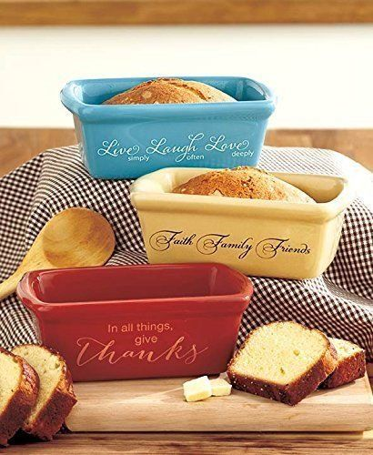 Set of 3 Stoneware Mini Loaf Pans *** Click image to review more details.