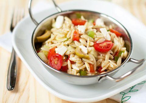 Greek Orzo Salad: Orzo Salada, Greek Barley Salad, Fun Recipe, Salad Recipes, Red Wine, Orzo Pasta Salads, Pasta Salad Recipe, Weights Watcher, Grilled Shrimp