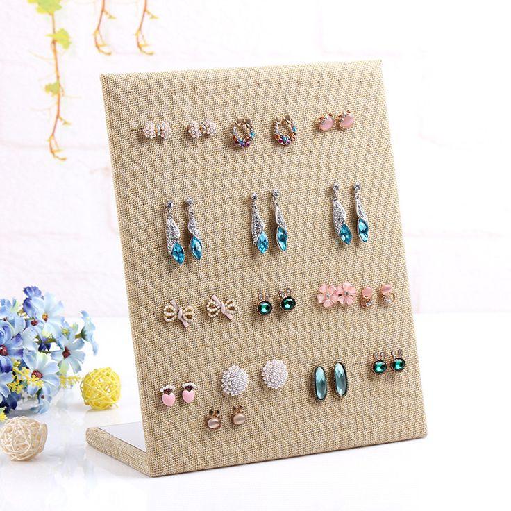 Free shipping 2015 Linen Material display shelf board pin earrings jewelry display stand earring holder jewelry box store shelf