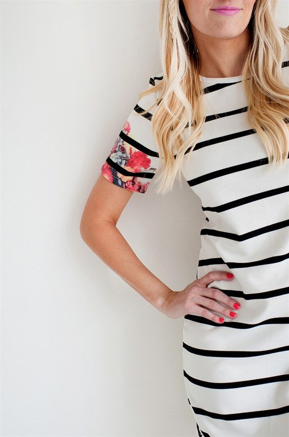 Floral Sleeve Striped Dress S-XL | Jane