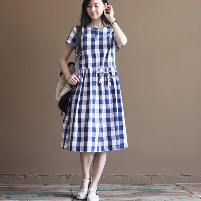Grid dress tunics pullover dress