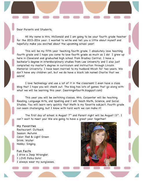 Mrs. McDonald's 4th Grade: Meet the Teacher Letter