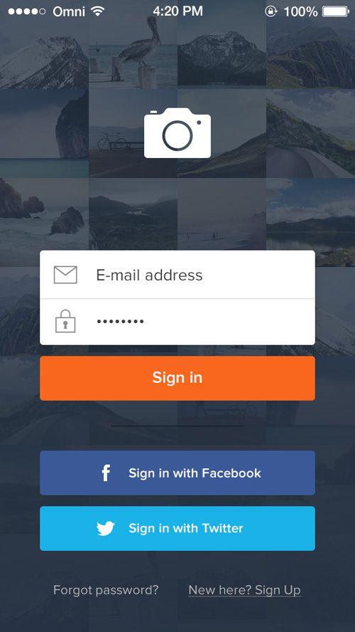 Formulaire d'inscription sur mobile beau et efficace, incluant le social #UX #UI