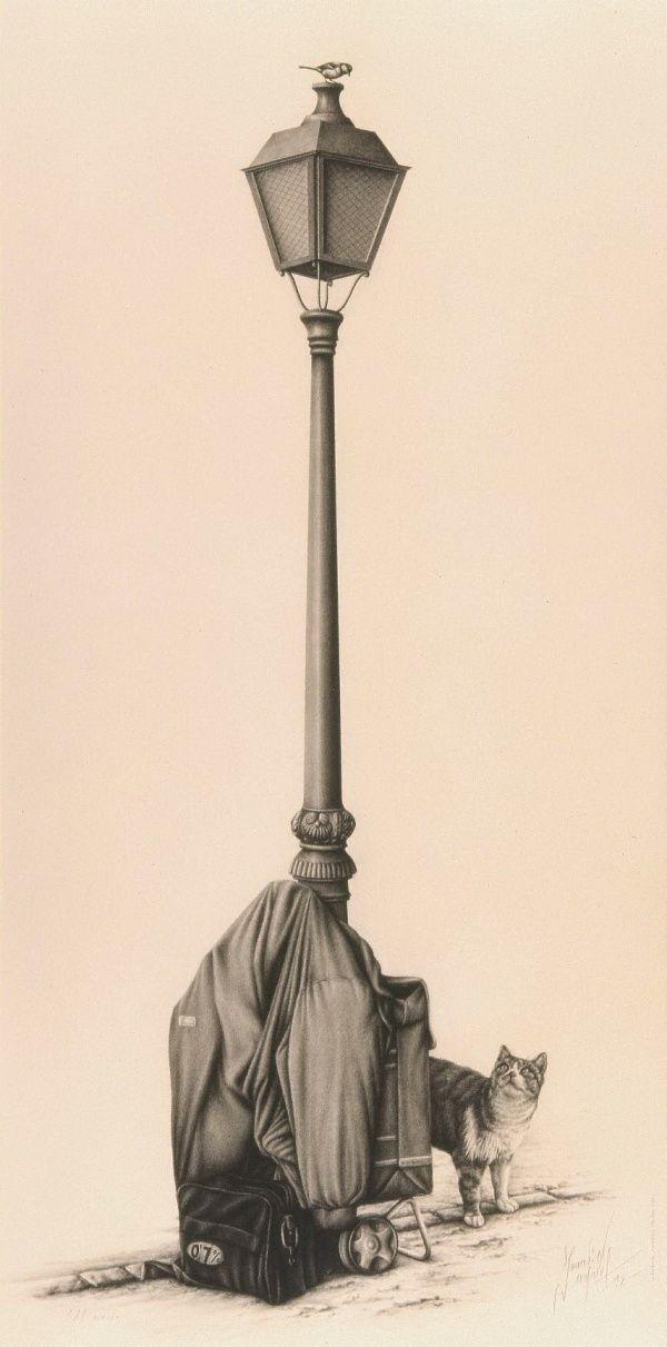 """""""Al acecho"""" (1998) Carboncillo, lápiz compuesto. Autor: Joaquín Morales. Esta obra me parece muy original y logró captar mi atención inmediatamente."""