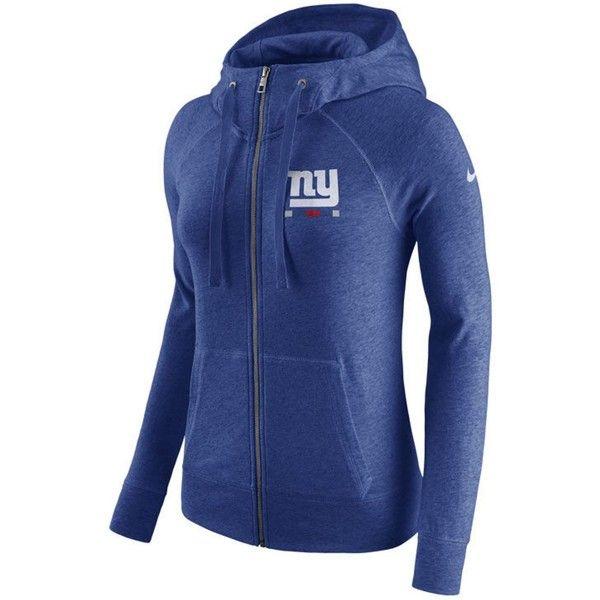 Nike Women's New York Giants Gym Vintage Full-Zip Hoodie featuring polyvore, women's fashion, clothing, tops, hoodies, logo hoodie, drawstring hoodie, vintage hoodies, vintage hooded sweatshirt and full zip hoodie