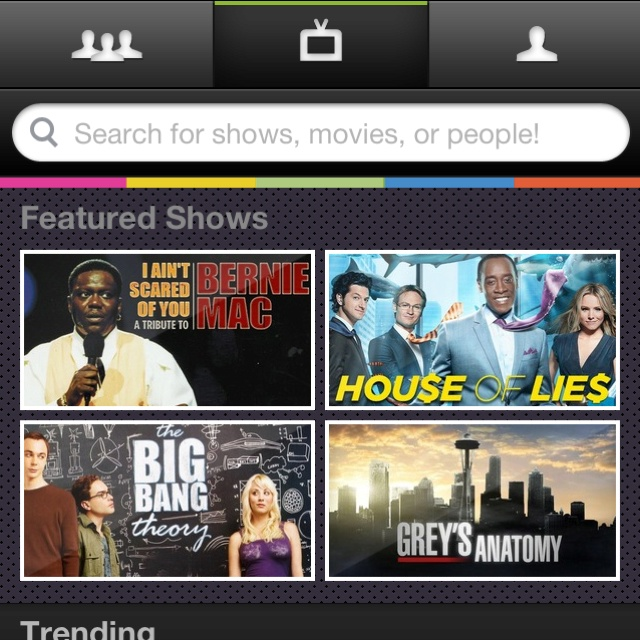 Miso makes it easy for users to broadcast what they're watching. It provides an interesting platform for interaction between mutual viewers. The non-traditional mobile navigation emphasizes the key components while the colorful band is a nice touch that indicates the app is loading new content.