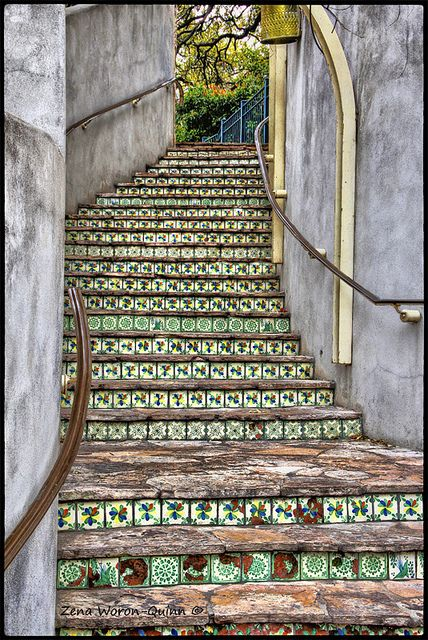 Tiled stairway. Mexican style