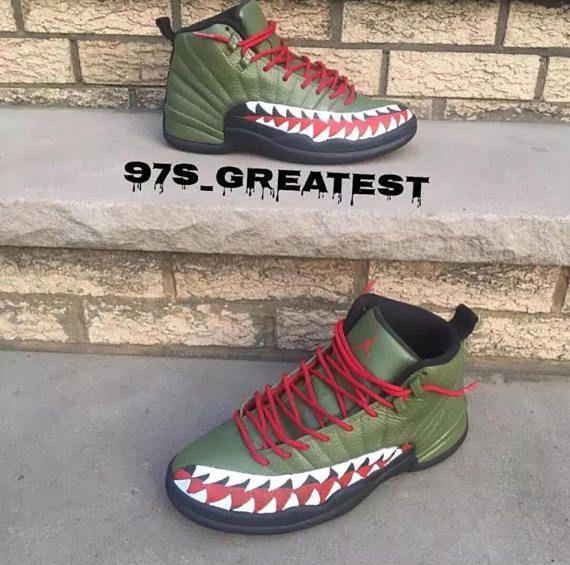 27265542372 Customized Jordan 12 XII A Bathing Ape Bape. What do you think!!! #ad #etsy  #shoefreak
