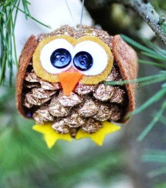2015 Christmas Pinecone animal Crafts, Christmas owl Pinecone Crafts idea, 2015 Christmas Pine cone ornaments DIY - Funny stuff by Gry Kvalsund Madsen