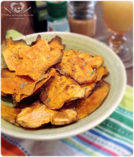 Chips de batata doce no forno - O melhor restaurante do mundo é a nossa Casa