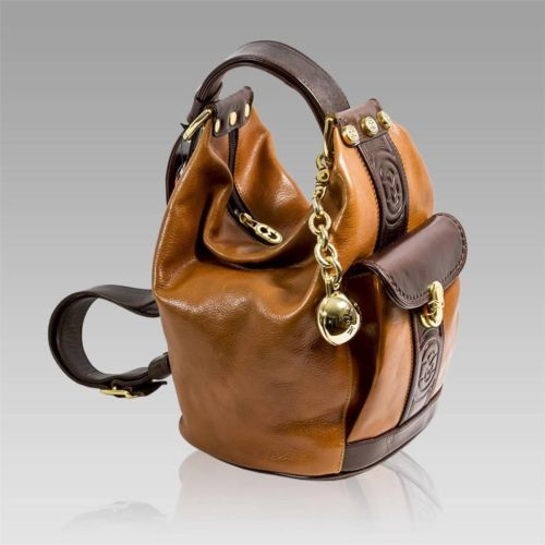 MARINO ORLANDI Italian DESIGNER COGNAC/BROWN LEATHER BUCKET SLING BAG
