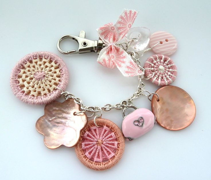 Handmade Handbag Embellishment • love the use of different styles of buttons, ie plastic, MoP and Dorset but all in shades of pink.