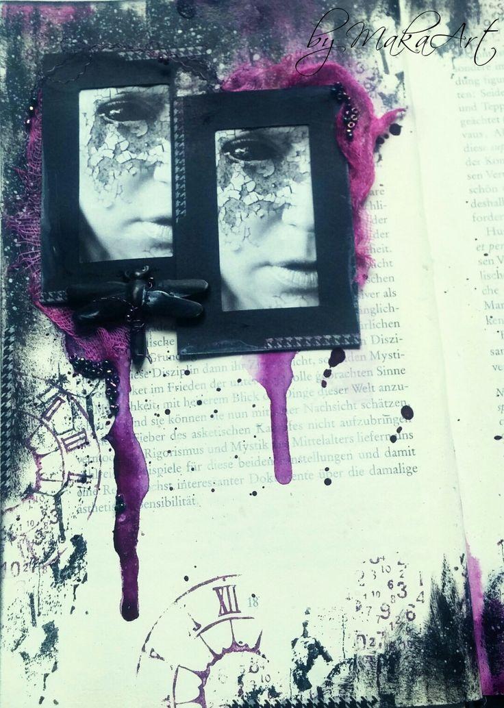 """My art journal page """"Solitude""""...   Môjaktuálny príspevok na ScrapArt.cz   prináša in špiráciu v podobe najnovšej stránky (vpisu) v mojom art journal a ATC setu na rovnakú ..."""