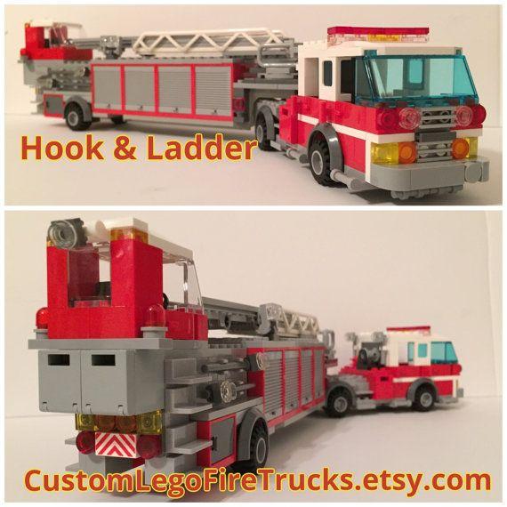 Custom Lego Seagrave Fire Tractor Drawn by CustomLegoFireTrucks