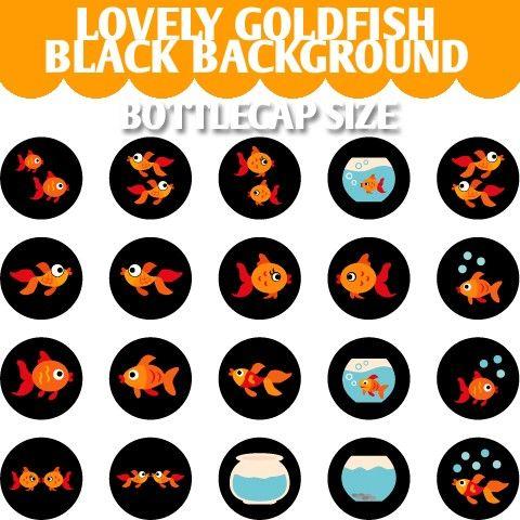 Lovely Goldfish Black Background 02102  Printable by blessedgrafik
