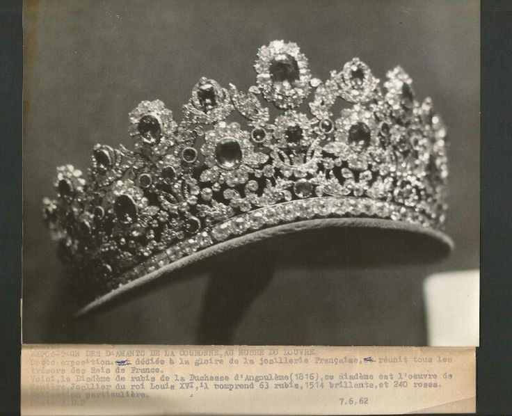 Tiara with rubies set in scrolling diamond foliage, it is part of The French Crown Ruby and Diamond Parure, made in 1816 by the court jeweller Ménière and his son-in-law Bapst on King Louis XVIII's request for Marie-Thérèse, Duchess of Angoulême
