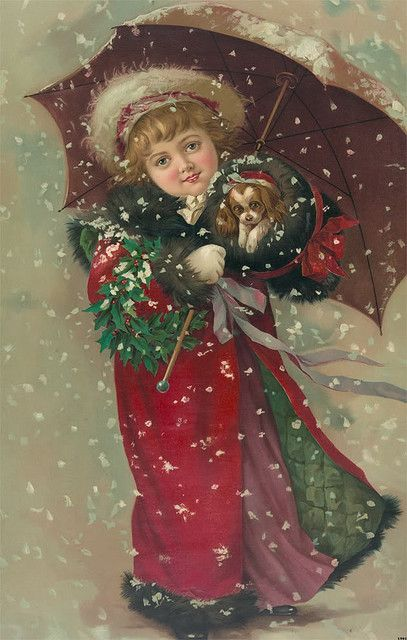 Vintage christmas picture Maud Humphreys, Bogie's Mom painted this and other victorian children
