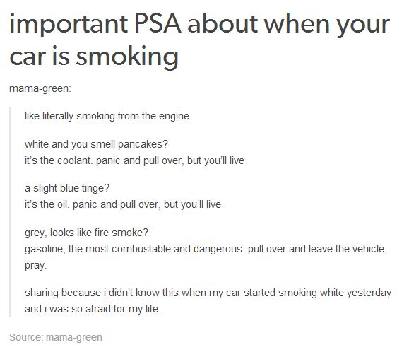 This just recently happened to me, smoking white, I freaked and pulled over. Even if you don't think it's that bad, pull over, because even if it's a minor fix, pushing it too far could result in damages you don't want.