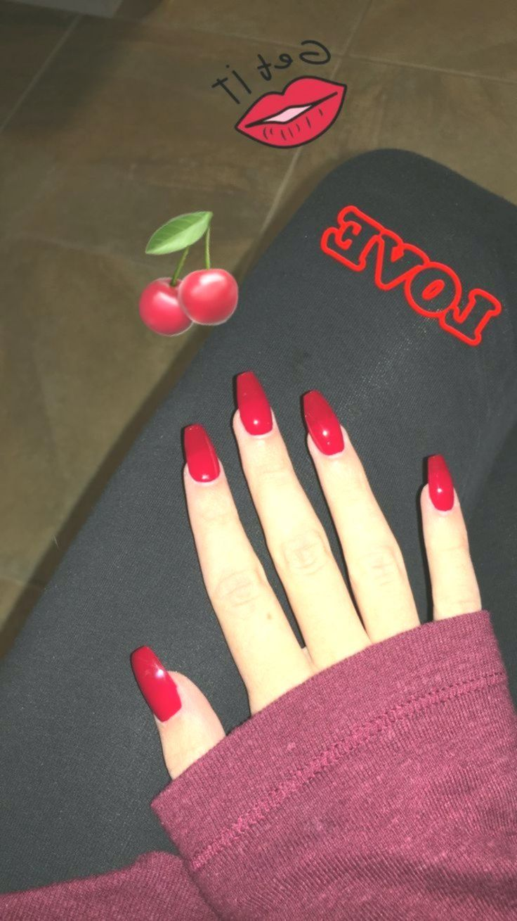 Cherry Red With A Sprinkle Of Cinderella Nail Colors Red Nails Nail Designs