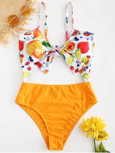 68b6c2fedc2e5 2019 Knot Fruit Print Backless Swimsuit In CANTALOUPE M