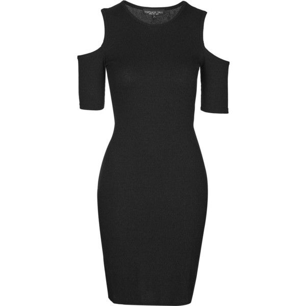 TOPSHOP TALL Cold Shoulder Rib Bodycon ($45) ❤ liked on Polyvore featuring dresses, black and topshop