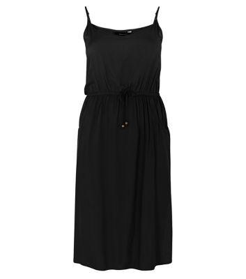 Black Strappy Pocket Front Split Side Midi Dress