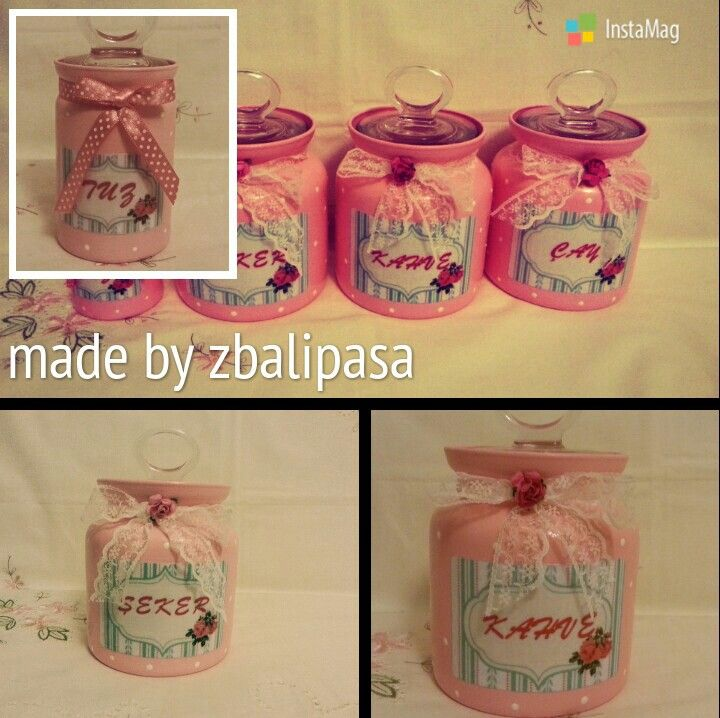 Pink jars glass painting