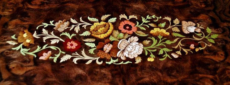 Center floral inlaid wood