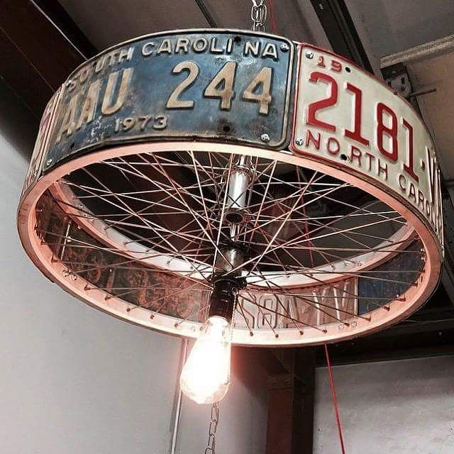 Badass Lamp Shade! Where Would You Put It? Garage? Man Cave? Follow. Bicycle  Wheel ...