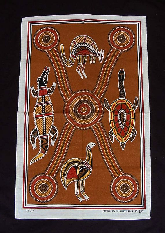 Vintage Australian Tea Towel Printed Kitchen by Kissisjustakiss