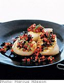 Grilled Sea Scallops with Tomato-Black Olive Vinaigrette and Potatoes    Read more: http://www.oprah.com/food/Grilled-Sea-Scallops-with-Tomato-Black-Olive-Vinaigrette-and-Potatoes