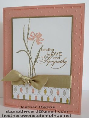 Stampin' Up! Love and Sympathy, lullaby DSP, gold satin ribbon, polka dot embossing folder