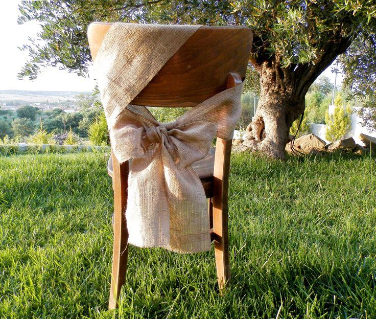 50 Burlap chair sash  Rustic wedding by MadeInBurlap on Etsy, $130.00