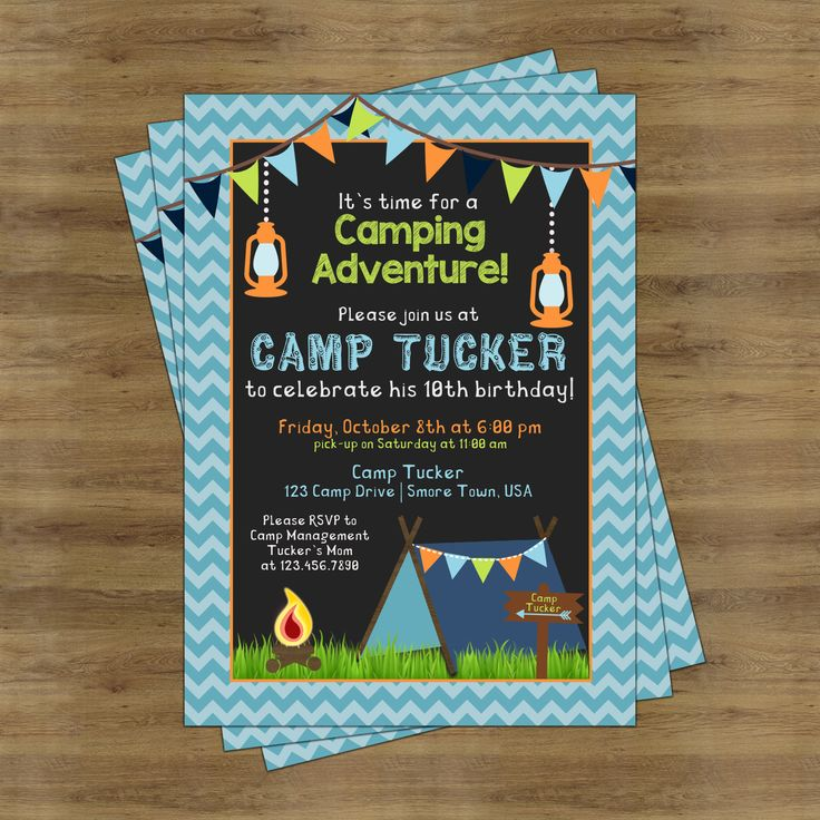 happy birthday invitation pictures%0A Camping Birthday Invitations for Boys