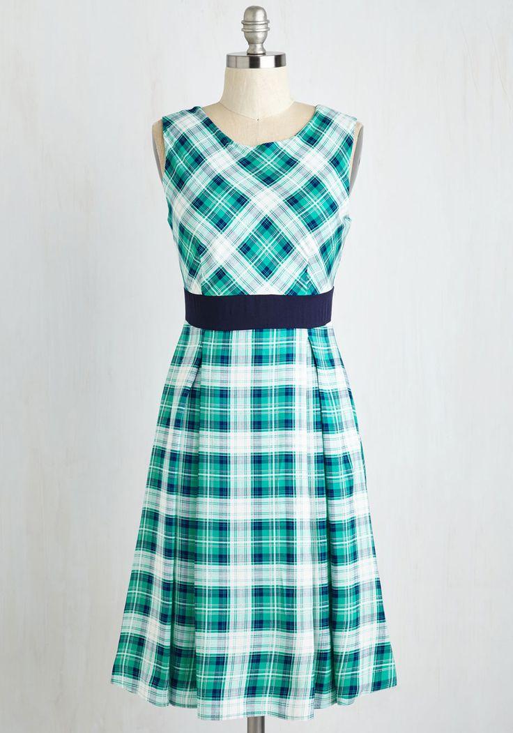Plaid-vertising Executive Dress - Mid-length, Woven, Multi, Green, Plaid, Print, Work, A-line, Sleeveless, Better