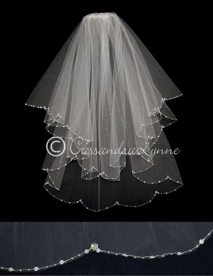 Scalloped Two Layer Veil with Crystals and Sequins