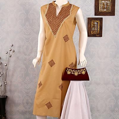Apparel for Women: Gift your wife this beautiful Lucknowi Chikankari A-Line Kurti with Zari Work Clutch this karwa chauth 2017