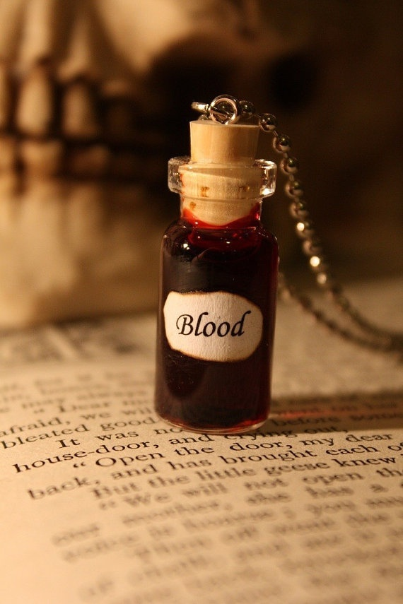 Glass Vial Necklace Blood by spacepearls on Etsy, $12.00 ~ Emergency supply? lol.