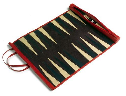 Travel size Backgammon, what could be better than this Pickett's Roll Up Backgammon!   Better Late Luxury