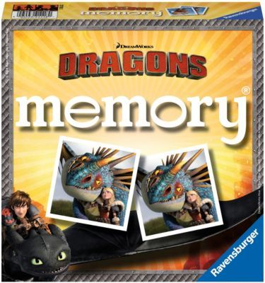 Dragons memory® von Ravensburger.<br /> <br /> Hicks und Ohnezahn, Fischbein und Fleischklops, Astrid und Sturmpfeil. Auf 72 tollen Bildkarten lernen die Spieler die Drachenreiter von Berk und ihre Dragons kennen.  Wer sich gut merken kann, wo die bildgleichen Karten versteckt sind, wird bei diesem drachenstarken Gedächtnisspiel gewinnen.<br /> <br /> Inhalt: 72 Karten (36 Bildpaare)